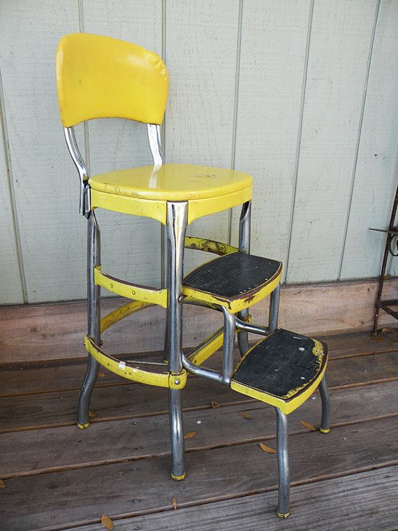 Cosco Chair With Step Stool Yellow Mid Century Stools