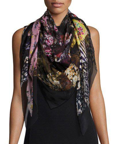 D2GFY Alexander McQueen Floral Ruffle Silk Chiffon Scarf, Black/Multicolor
