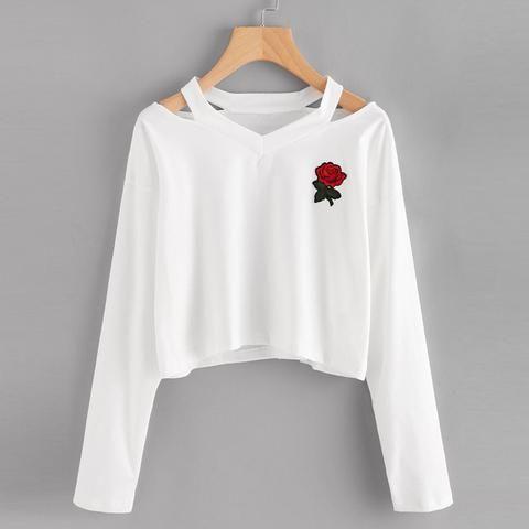 Women's Red Rose Long Sleeve Sweatshirt