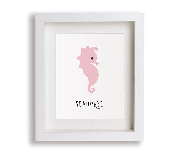 NEW Seahorse Nursery Art Print - Children's Decor, Baby's Nursery, Fish, Aquatic, Nautical, Kids Wall Art, Playroom, Outback, Toddler Room by NikoAndLily on Etsy https://www.etsy.com/listing/221063034/new-seahorse-nursery-art-print-childrens
