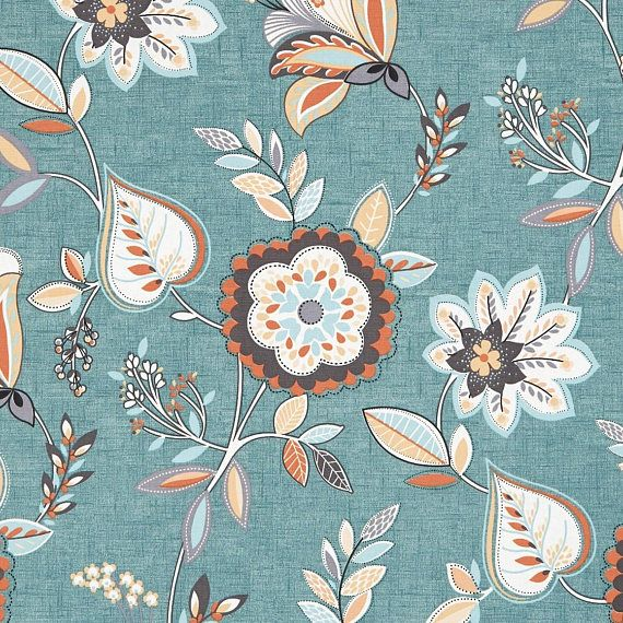 Teal Orange Floral Upholstery Fabric Light Blue Floral Fabric Decor Floral Upholstery Fabric Curtain Fabric Teal