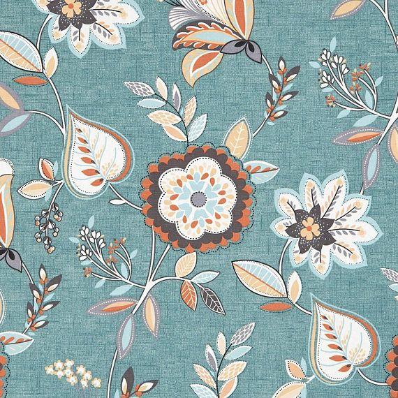 Teal Orange Floral Upholstery Fabric Light Blue Floral Floral