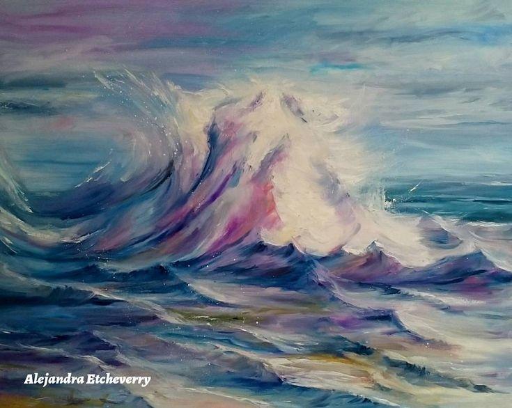 Título: La fuerza de la ola - Oleo sobre tela (100cm x 80cm) - Argentina - Autora: Alejandra Etcheverry