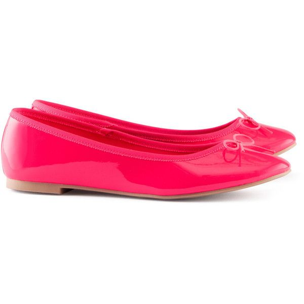 H&M Ballet pumps (£7.99) ❤ liked on Polyvore featuring shoes, flats, h&m, neon pink, ballerina shoes, skimmer flats, rubber sole shoes, ballet flat shoes and neon pink ballet flats
