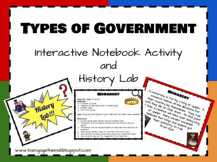 Kids love glue, scissors and engagement. why not combine this love with learning about the types of government around the world? This mini unit focuses on the four basic government systems: monarchy, dictatorship, democracy, and republic. Students will complete a note taking activity with a notebook foldable and then experience each form of government in a History Lab!