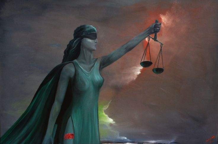 Justitia. Oil painting on 3D canvas. For sale #MaestroBasthy