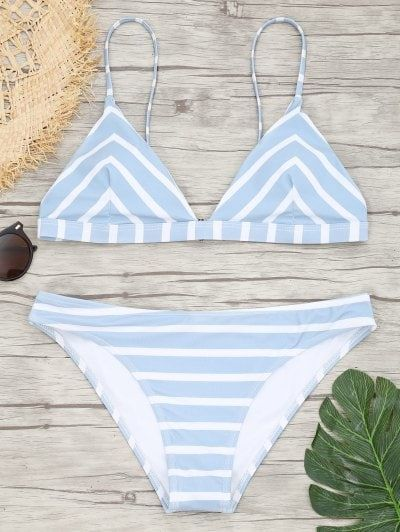 SHARE & Get it FREE | Chevron Striped Cami Bikini Set - Blue And White LFor Fashion Lovers only:80,000+ Items • New Arrivals Daily Join Zaful: Get YOUR $50 NOW! #Bikinis
