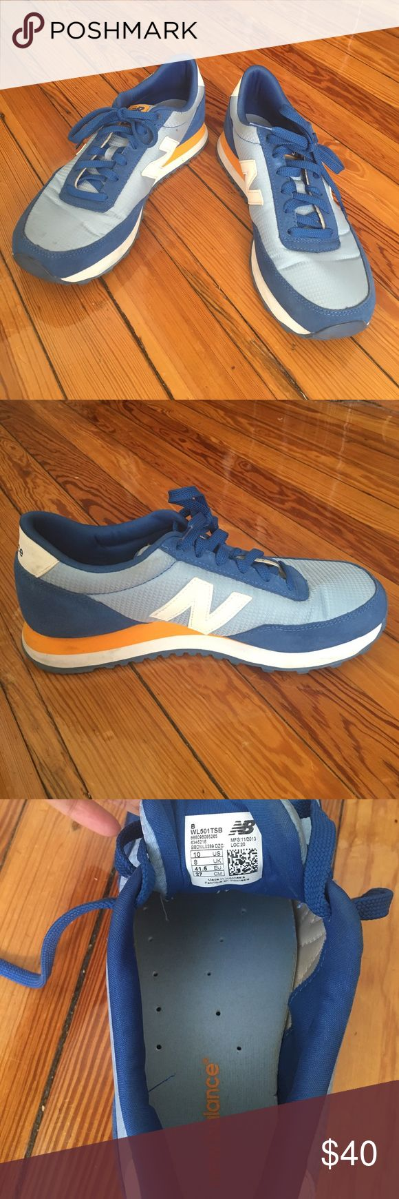 Blue and Yellow New Balance sneakers Blue and yellow sneakers in size 10 new balance 501. In good condition, worn a few times. New Balance Shoes Sneakers