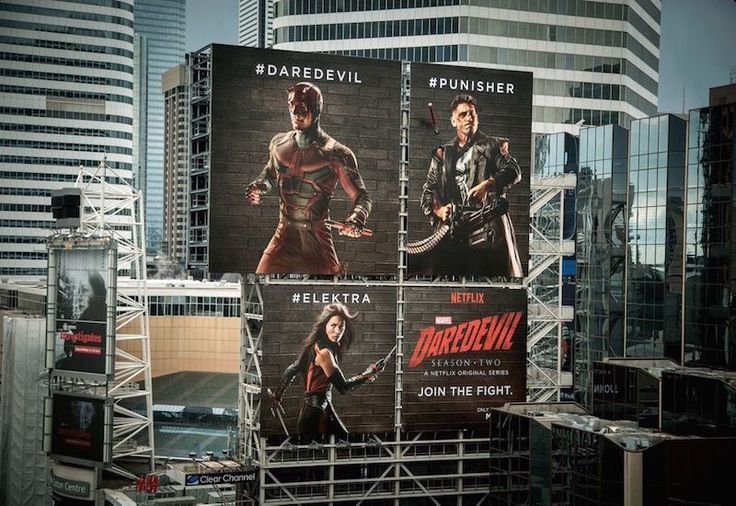 "Daredevil: Netflix uses billboards to ignite social media battle To get fans excited for ""Daredevil's"" much anticipated season two release (which launched on March 18th), Netflix launched a promotional outdoor billboard campaign enriched with a major digital component. Fans on social media were called upon to 'Join The Fight' by using dedicated hashtags to see the billboards evolve."