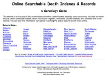 Online Searchable Death Indexes and Records - A Genealogy Guide - Joe Beine