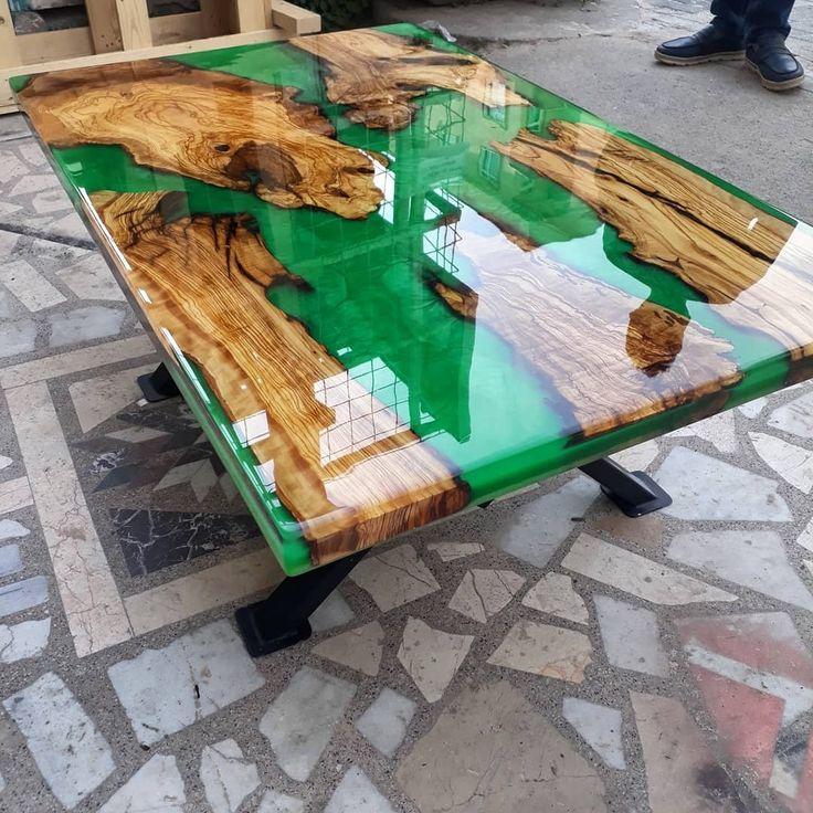 Olivee Wood Epoxy Resin Coffee Table
