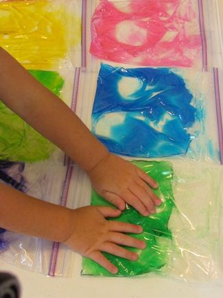 NO MESS SENSORY PLAY for toddlers--(or older pre-schoolers): Sensory gel bags....seal with colorful duct tape for toddlers, (add little plastic objects to make more interesting for older pre-schoolers... try an ocean scene, star galaxy, or animal jungle)