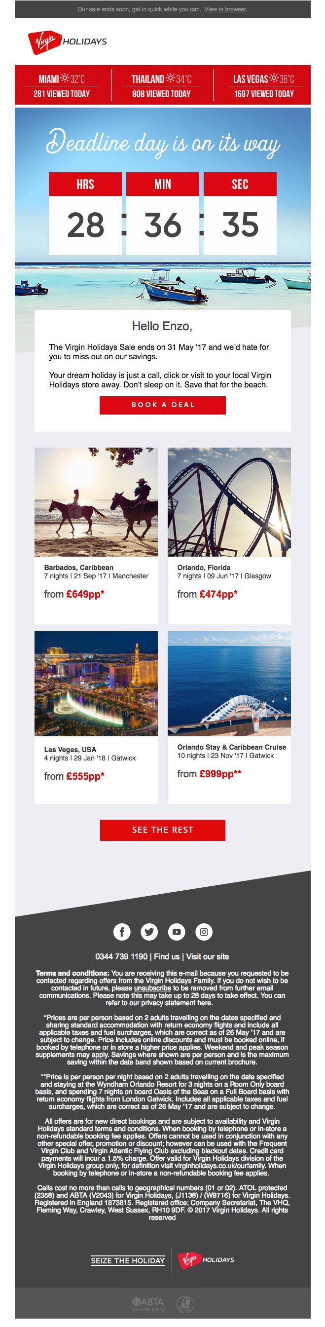 Live countdown timer in this email from Virgin Holidays