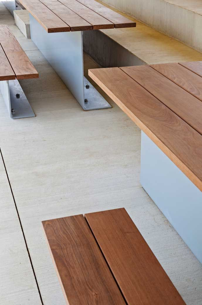 This simple design of tables and benches are awesome.  A standard I-Beam could be used for this also.