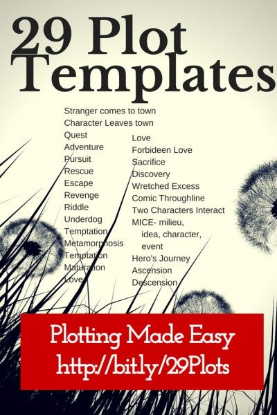 29 Plot Templates make plotting easy. If you choose the right template and customize it for your story, you're way ahead on the plotting game. Make life easy! Check out these options: http://www.darcypattison.com/plot/29-plot-templates/