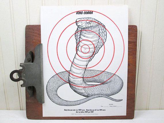 Vintage Snake Paper Shooting Target King Cobra by vintagegoodness