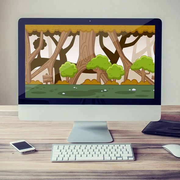 Huge tree forest game background for game developers