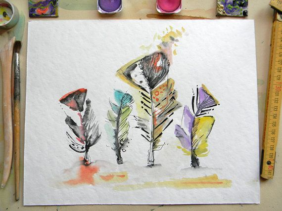 Four Marabou feathers watercolor Modern original by AquarelleDream