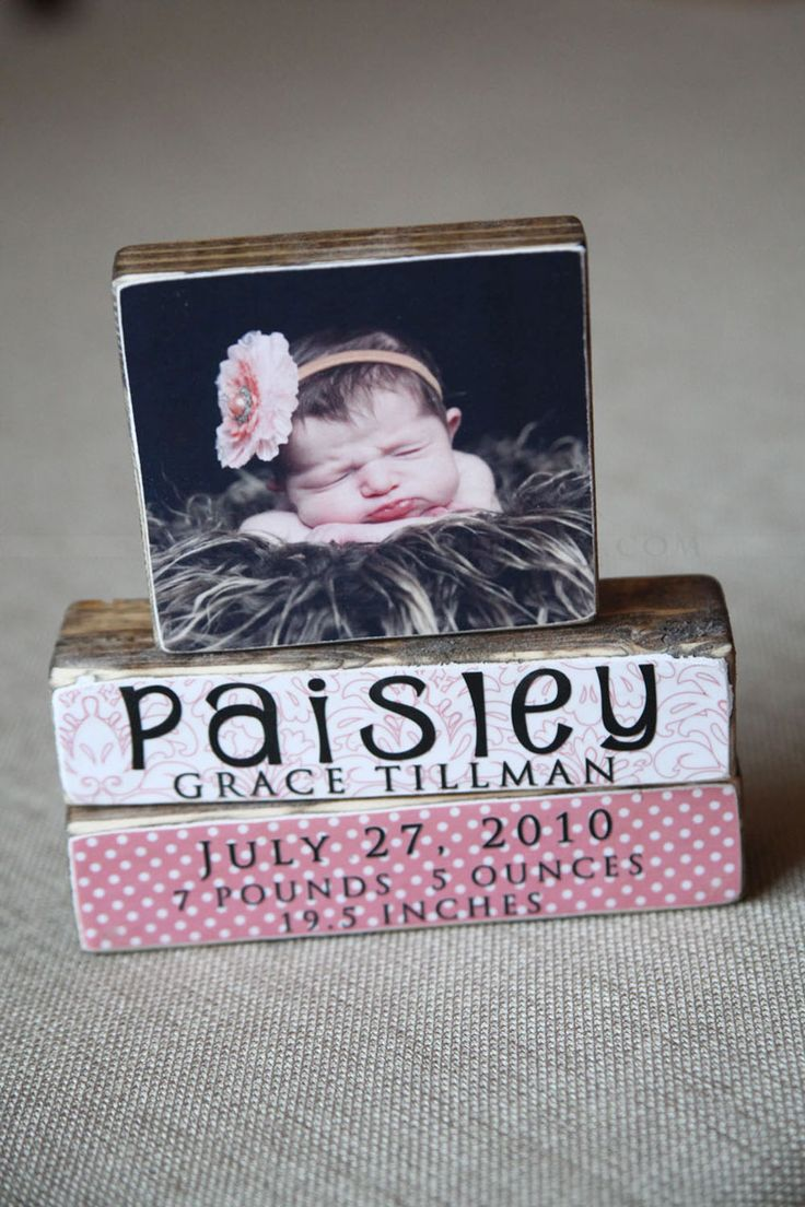 Blocks with image and babies name. I'd love to have these made for my four…