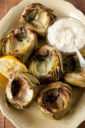 Grilled Artichokes with Bacon and Rosemary Dip