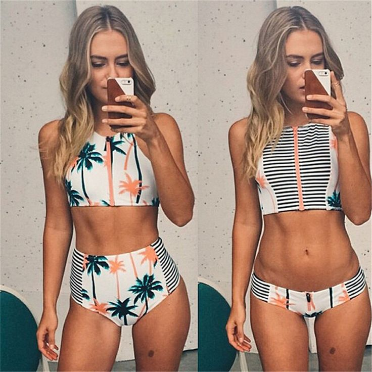 nice High Neck Tank Bikinis Zipper Beach Swimwear Women High Waist Bikini Set Vintage Striped High Waisted Swimsuit Bathing Suit