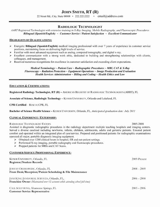 X Ray Technician Resume Format ResumeFormat