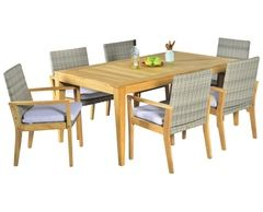 Elegance In-outside 7pc Teak Dining Setting with 2016 Collibri Teak+Wicker Dining Armchairs