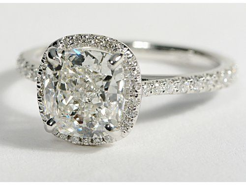 two carat cushion cut micropave halo-- this is EXACTLY what I want except the center diamond to be less than 1 carat