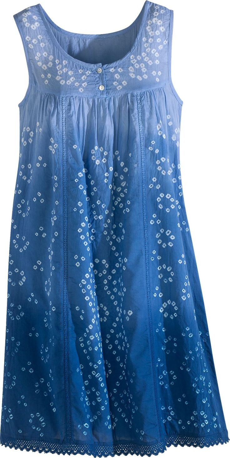 Vermont Country Store blue ombre tie-dye cotton tank chemise nightgown