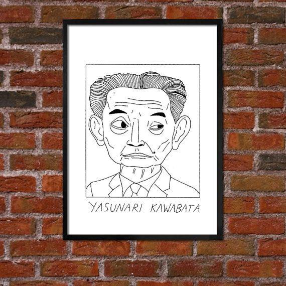 Badly Drawn Yasunari Kawabata  Literary Poster
