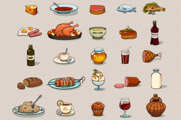 Food icons - Illustrations