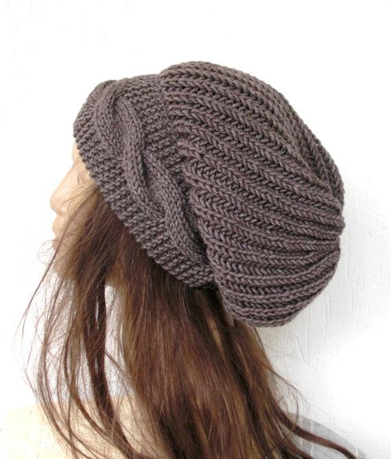 Hand Knit Hat  Womens hat  chunky knit Slouchy Beanie  by Ebruk, $40.00