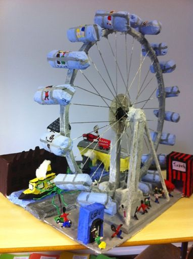 The finished London Eye Sculpture  Come and learn how to make papier mache 1:1 or small group sessions near Richmond in Surrey or I can come to schools or groups on Fridays