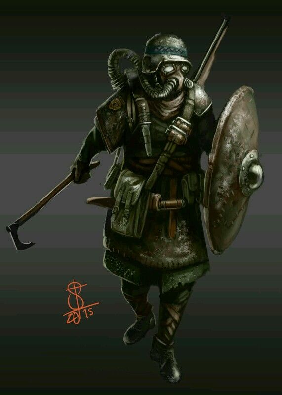 Post-apocalyptic axeman with a rifle, shield, seax an axe and some armour with a gasmask. I can certainly see the post-apo society reverting back to the days of old with a sprinkle of modern tech here and there, especially in more northern enviroment! Fjords wastelander