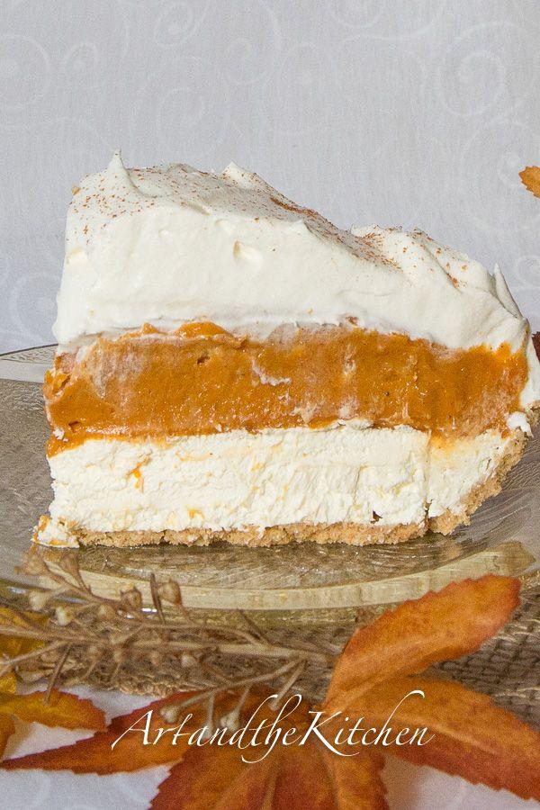 ArtandtheKitchen: No Bake Triple Layer Pumpkin Pie, layers of cheesecake and pumpkin pie. My Best Ever pumpkin pie recipe!
