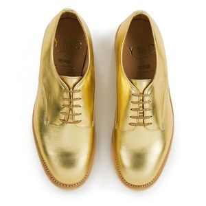 YMC Women's Solovair Lace Up Leather Crepe Sole Derby Shoes - Gold Leather: