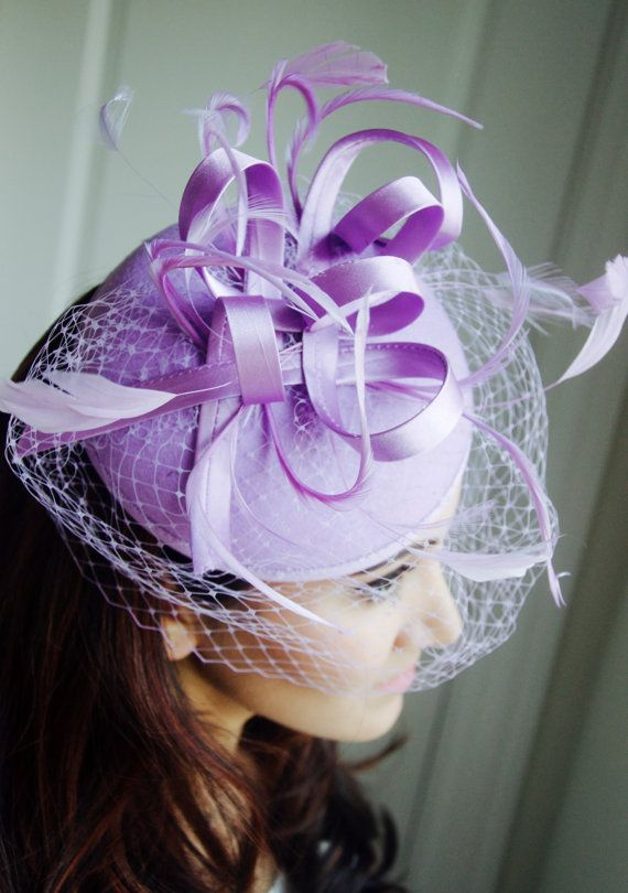 """Lilac Fascinator - """"Juliet"""" Purple Lilac Round Felt Sinamay Hat w/ Feathers and Satin Ribbons"""