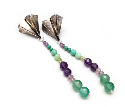 Sterling silver earrings. Sculptural posts with amethyst, jade, chrysocolla, peridot  one of a kind