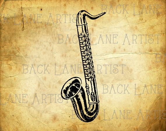 Vintage Saxophone Music Instrument Clipart by BackLaneArtist