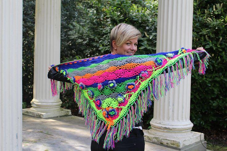 Driehoek sjaal neon/fluor kleuren - La Volpe Moda