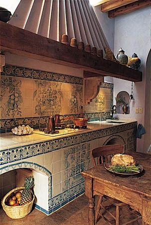 Mexican kitchen - Handmade tiles can be colour coordinated and customized re. shape, texture, pattern, etc. by ceramic design studios