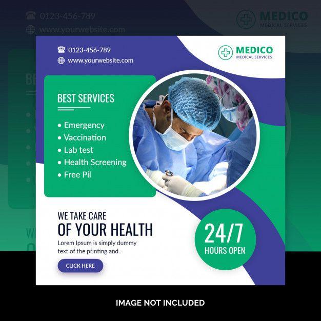Medical Square Banner Template Brochure Design Layouts Booklet Design Social Media Design Inspiration