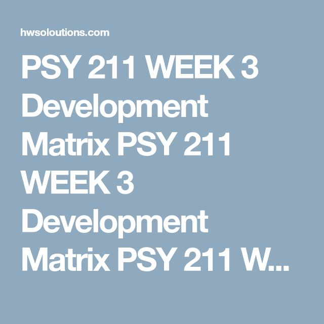 PSY 211 WEEK 3 Development Matrix PSY 211 WEEK 3 Development Matrix PSY 211 WEEK 3 Development Matrix Development Matrix  Complete all three parts. Part I – Developmental Stages For each developmental domain (physical, cognitive, and social), identify two major milestones associated with the following stages: childhood, adolescence, and adulthood.    Stage of Development Physical Development Cognitive Development Social Development Childhood    Adolescence    Adulthood    Part II –…