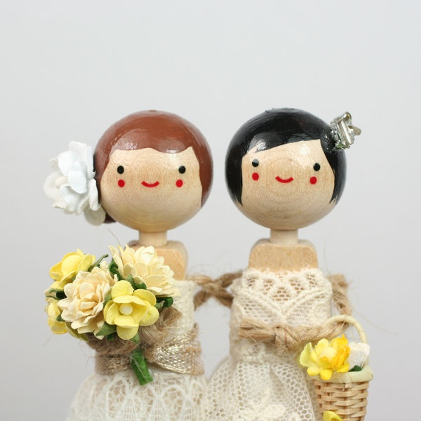 Love these custom wedding toppers on Etsy!