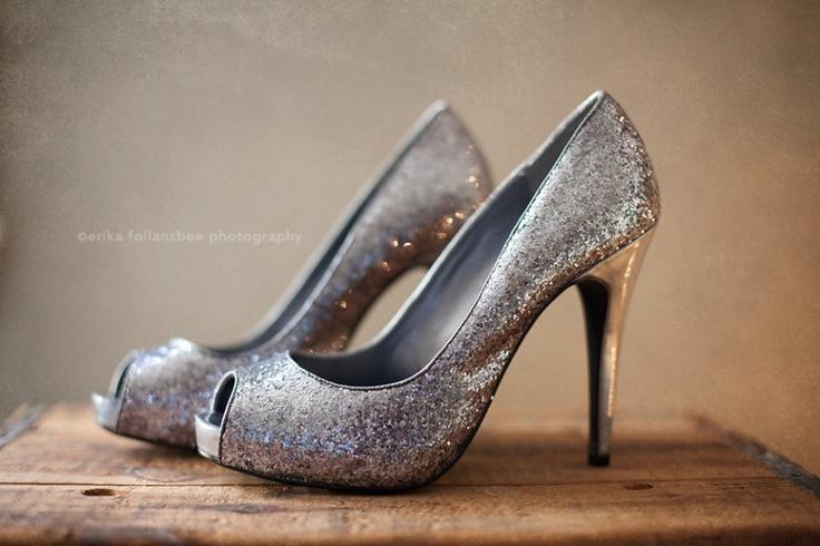 Silver wedding shoes. Source: Erika Follansbee Photography #weddingshoes #silver