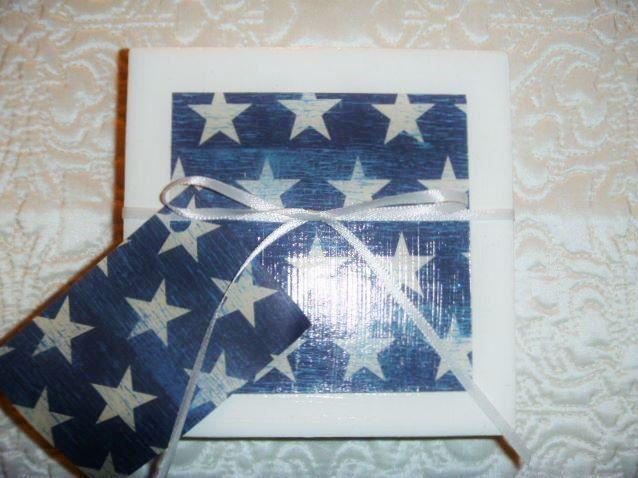Star Coasters, Patriotic Coasters, Denim Decor, White Stars, Blue Decor, Blue and White Decor, Veteran Gift, Set of 2 Coasters by KefiInspirations on Etsy
