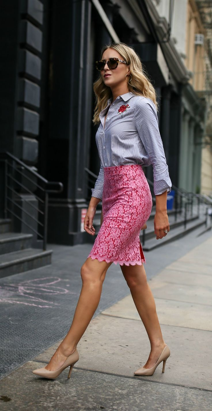 Office style // Pink and red lace pencil skirt, blue and white striped embroidered button down shirt with nude pumps + metal bridge sunglasses {DVF diane von furstenberg, equipment, marc jacobs, work to wear, professional office style, nordstrom anniversary sale 2017}