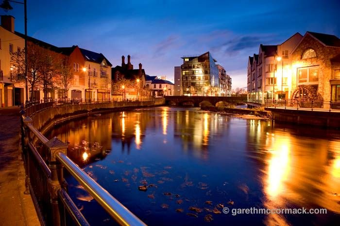 Sligo City at dusk, Ireland. The Glasshouse Hotel in the middle is where we'll be for our actual anniversary