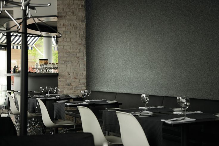 Zintra as Restaurant Wall in Ash  http://www.baresque.com.au/products/cladding/zintra