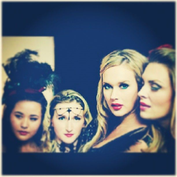 """Me far right acting as a burlesque gypsy fortune teller ..whispering sweet nothings in a film, """"Dream of a Shadow""""."""